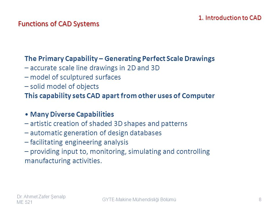 1.Introduction to CAD 1. Introduction to CAD Applications in Stress Analysis Dr.