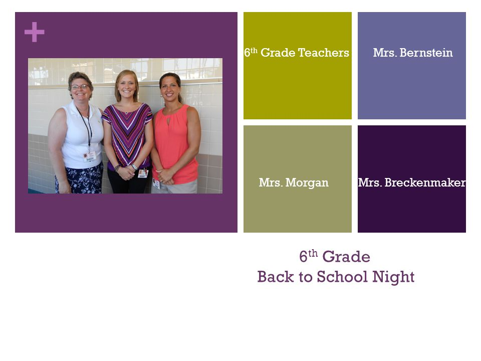 + 6 th Grade Back to School Night 6 th Grade Teachers Mrs. Bernstein Mrs. Morgan Mrs. Breckenmaker