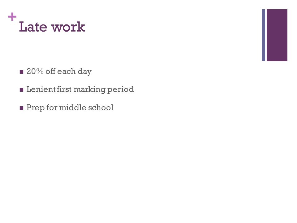 + Late work 20% off each day Lenient first marking period Prep for middle school