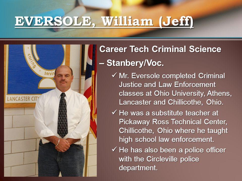 Career Tech Criminal Science – Stanbery/Voc. Mr.