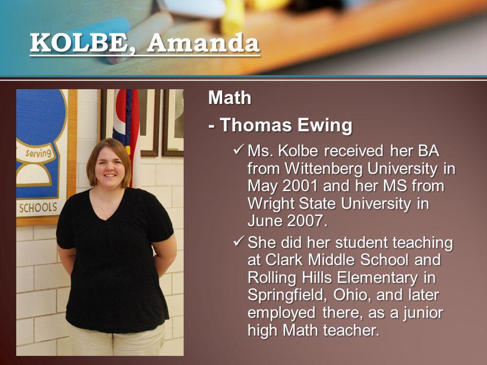 Math - Thomas Ewing Ms.