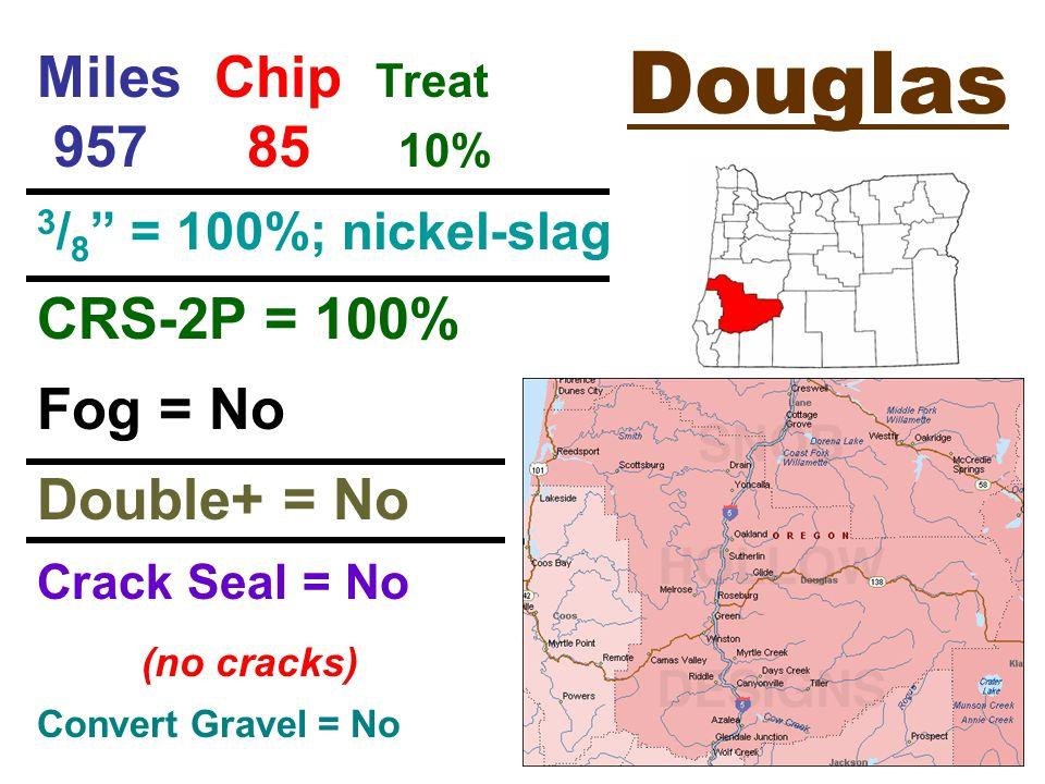 Douglas Miles Chip Treat 957 85 10% 3 / 8 = 100%; nickel-slag CRS-2P = 100% Fog = No Double+ = No Crack Seal = No (no cracks) Convert Gravel = No