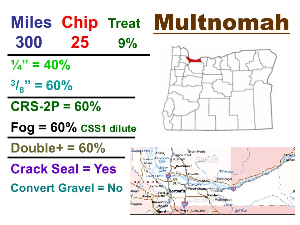 Multnomah Miles Chip Treat % ¼ = 40% 3 / 8 = 60% CRS-2P = 60% Fog = 60% CSS1 dilute Double+ = 60% Crack Seal = Yes Convert Gravel = No