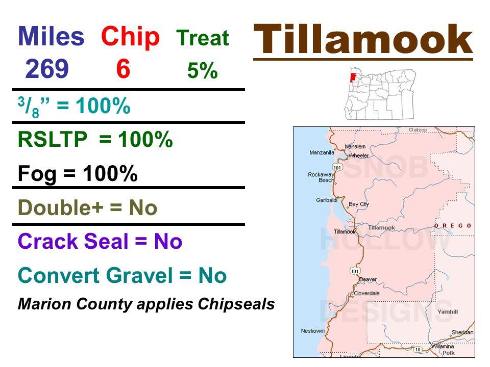 Tillamook Miles Chip Treat 269 6 5% 3 / 8 = 100% RSLTP = 100% Fog = 100% Double+ = No Crack Seal = No Convert Gravel = No Marion County applies Chipseals