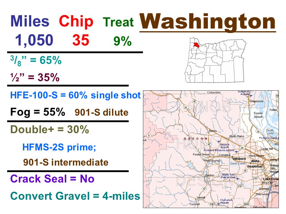 Washington Miles Chip Treat 1, % 3 / 8 = 65% ½ = 35% HFE-100-S = 60% single shot Fog = 55% 901-S dilute Double+ = 30% HFMS-2S prime; 901-S intermediate Crack Seal = No Convert Gravel = 4-miles