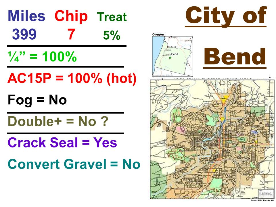 City of Bend Miles Chip Treat % ¼ = 100% AC15P = 100% (hot) Fog = No Double+ = No .
