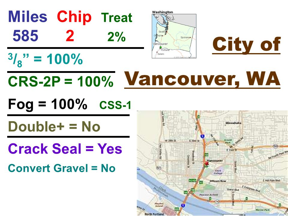 City of Vancouver, WA Miles Chip Treat % 3 / 8 = 100% CRS-2P = 100% Fog = 100% CSS-1 Double+ = No Crack Seal = Yes Convert Gravel = No
