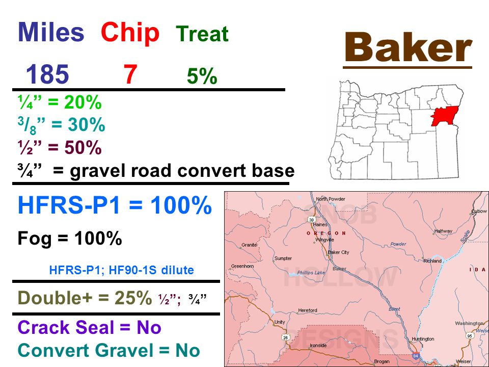 Baker Miles Chip Treat % ¼ = 20% 3 / 8 = 30% ½ = 50% ¾ = gravel road convert base HFRS-P1 = 100% Fog = 100% HFRS-P1; HF90-1S dilute Double+ = 25% ½ ; ¾ Crack Seal = No Convert Gravel = No