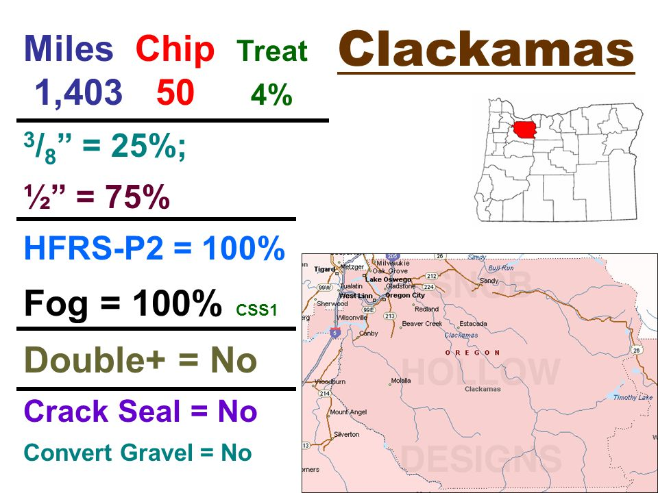 Clatsop Miles Chip Treat 184 20 11% ¼ = 60% ½ = 40% winter bite CRS-2P = 100% Fog = 50% CSS1H dilute Double+ = 28% CRS-2P Crack Seal = Yes Convert Gravel = Yes