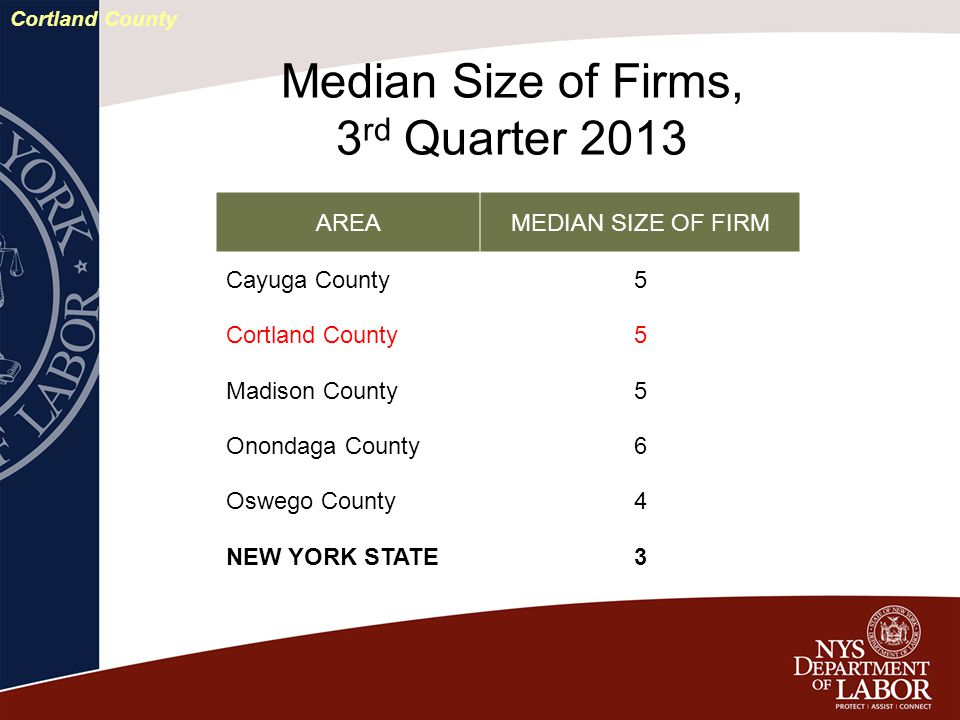 AREAMEDIAN SIZE OF FIRM Cayuga County5 Cortland County5 Madison County5 Onondaga County6 Oswego County4 NEW YORK STATE3 Median Size of Firms, 3 rd Quarter 2013 Cortland County
