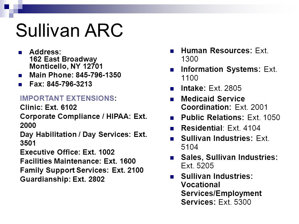 Sullivan ARC Address: 162 East Broadway Monticello, NY 12701 Main Phone: 845-796-1350 Fax: 845-796-3213 Human Resources: Ext.
