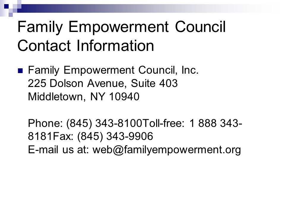 Family Empowerment Council Contact Information Family Empowerment Council, Inc.