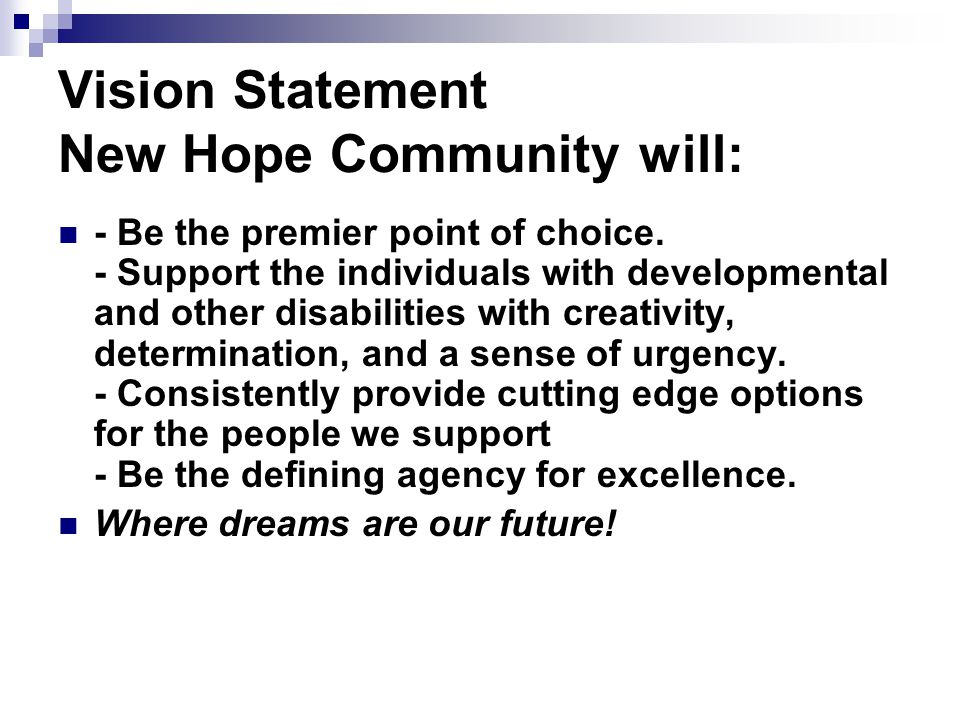 Vision Statement New Hope Community will: - Be the premier point of choice.