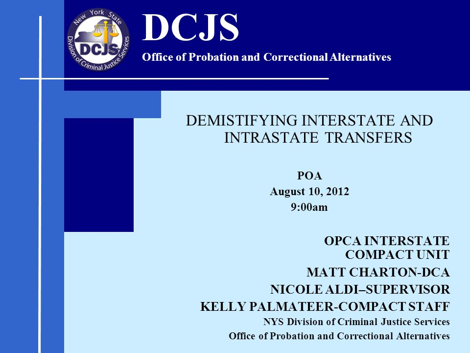 DEMISTIFYING INTERSTATE AND INTRASTATE TRANSFERS POA August 10, 2012 9:00am OPCA INTERSTATE COMPACT UNIT MATT CHARTON-DCA NICOLE ALDI–SUPERVISOR KELLY