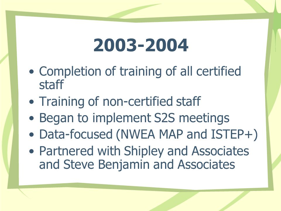 2003-2004 Completion of training of all certified staff Training of non-certified staff Began to implement S2S meetings Data-focused (NWEA MAP and ISTEP+) Partnered with Shipley and Associates and Steve Benjamin and Associates