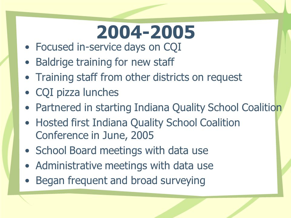 Focused in-service days on CQI Baldrige training for new staff Training staff from other districts on request CQI pizza lunches Partnered in starting Indiana Quality School Coalition Hosted first Indiana Quality School Coalition Conference in June, 2005 School Board meetings with data use Administrative meetings with data use Began frequent and broad surveying