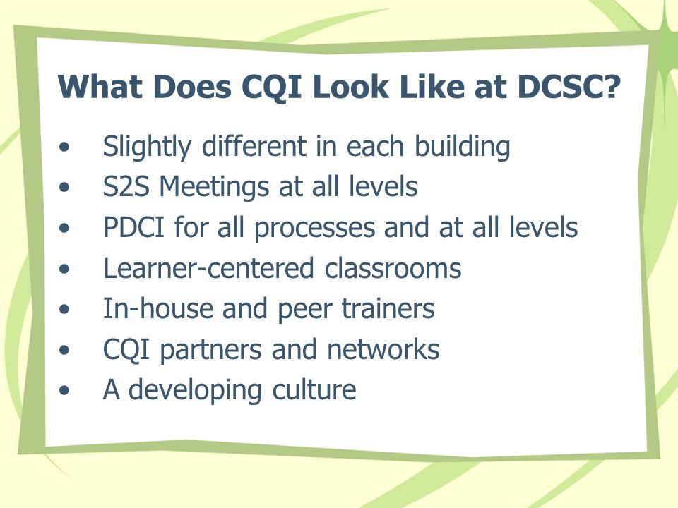What Does CQI Look Like at DCSC.