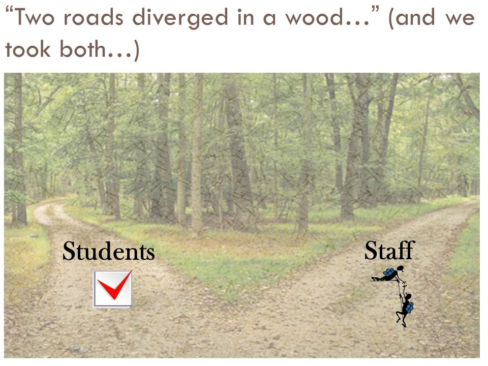 """""""Two roads diverged in a wood…"""" (and we took both…) StudentsStaff"""