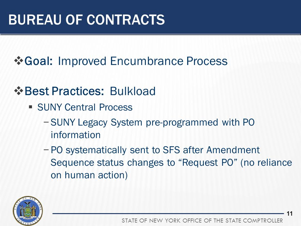 STATE OF NEW YORK OFFICE OF THE STATE COMPTROLLER 10 BUREAU OF CONTRACTS  Goal: Improved Encumbrance Process  Best Practices: Phase 1 Agencies  Cre