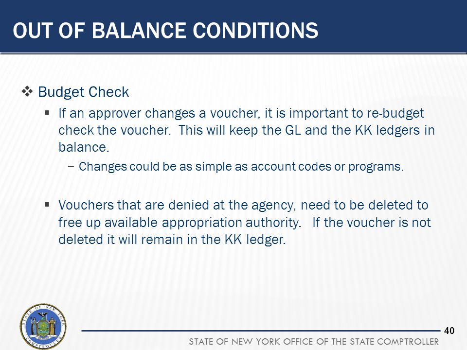 STATE OF NEW YORK OFFICE OF THE STATE COMPTROLLER 39 QUESTION #6 What is the final step for vouchers that need to be removed from SFS to ensure the bu