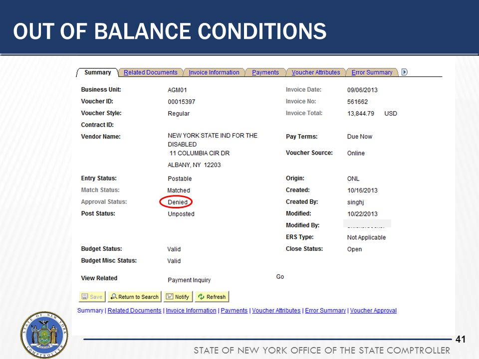 STATE OF NEW YORK OFFICE OF THE STATE COMPTROLLER 40 OUT OF BALANCE CONDITIONS  Budget Check  If an approver changes a voucher, it is important to r