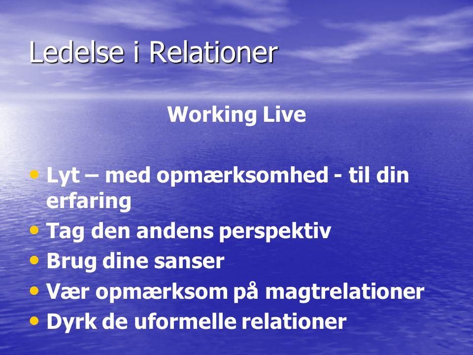 Ledelse i Relationer Working Live Lyt – med opmærksomhed - til din erfaring Tag den andens perspektiv Brug dine sanser Vær opmærksom på magtrelationer Dyrk de uformelle relationer