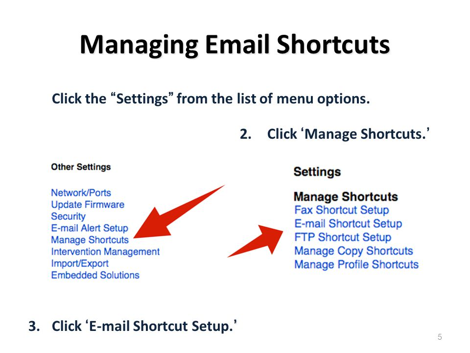 Managing Email Shortcuts 2.Click 'Manage Shortcuts.' ' 3.Click 'E-mail Shortcut Setup.' Click the Settings from the list of menu options.