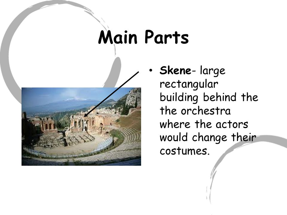 Eisodoi(EYE-soh-doy) Two side entrances to orchestra in the Greek theatre; entrance ramps between theatron and skene;.also see parodos.