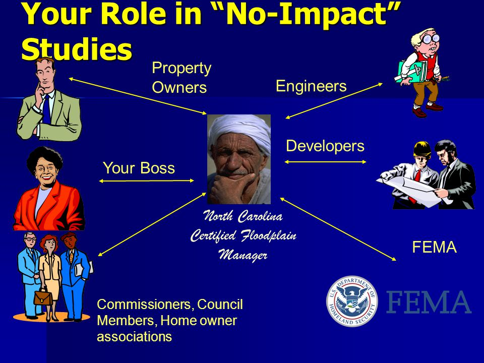 Your Role in No-Impact Studies Engineers Developers Property Owners Your Boss Commissioners, Council Members, Home owner associations FEMA North Carolina Certified Floodplain Manager