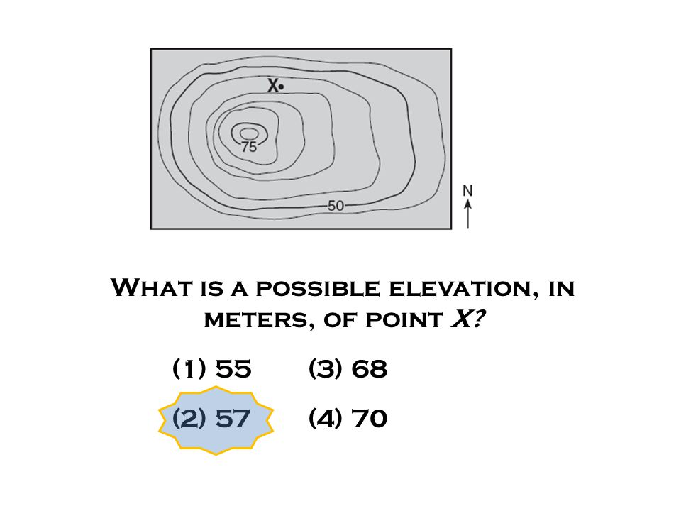 What is a possible elevation, in meters, of point X? (1) 55 (3) 68 (2) 57 (4) 70