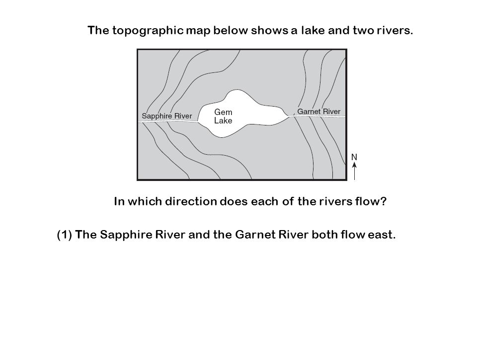 The topographic map below shows a lake and two rivers. In which direction does each of the rivers flow? (1) The Sapphire River and the Garnet River bo