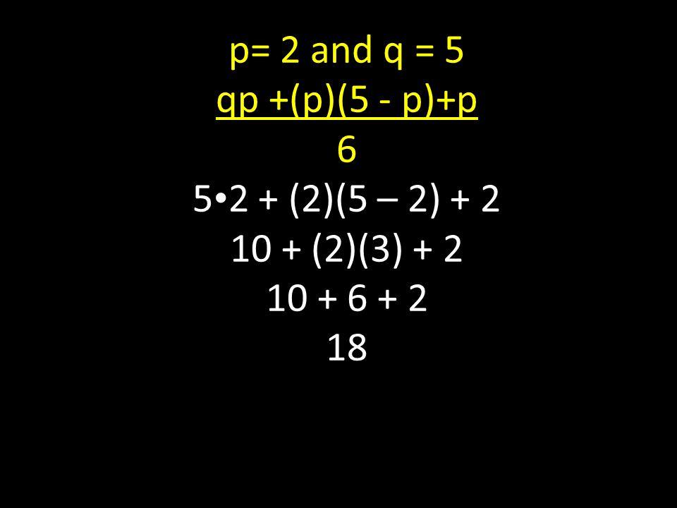 p= 2 and q = 5 qp +(p)(5 - p)+p 6 5 2 + (2)(5 – 2) + 2 10 + (2)(3) + 2 10 + 6 + 2 18