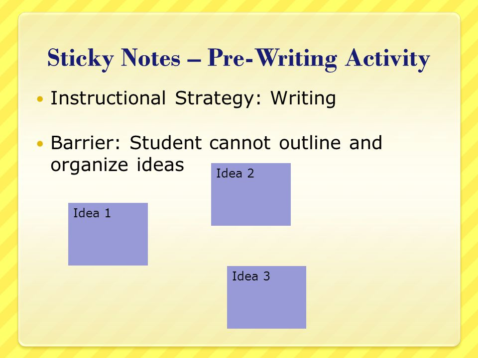 Sticky Notes – Pre-Writing Activity Instructional Strategy: Writing Barrier: Student cannot outline and organize ideas Idea 1 Idea 2 Idea 3