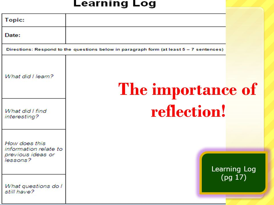 The importance of reflection! Learning Log (pg 17)