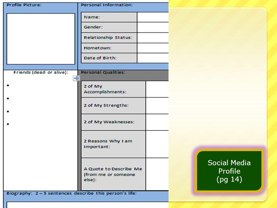 Social Media Profile (pg 14)