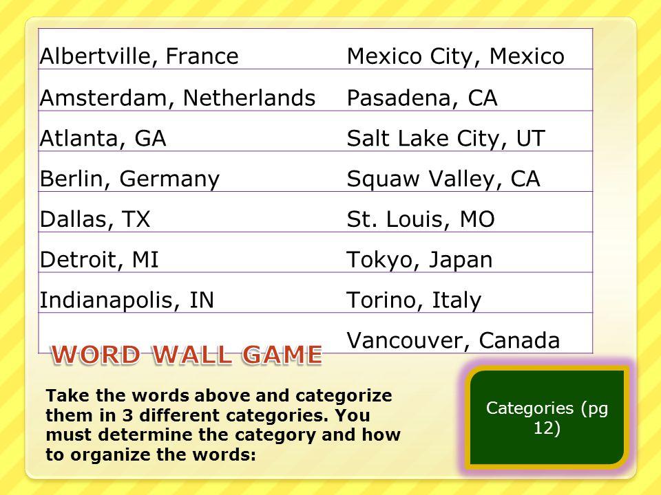 Albertville, FranceMexico City, Mexico Amsterdam, NetherlandsPasadena, CA Atlanta, GASalt Lake City, UT Berlin, GermanySquaw Valley, CA Dallas, TXSt.