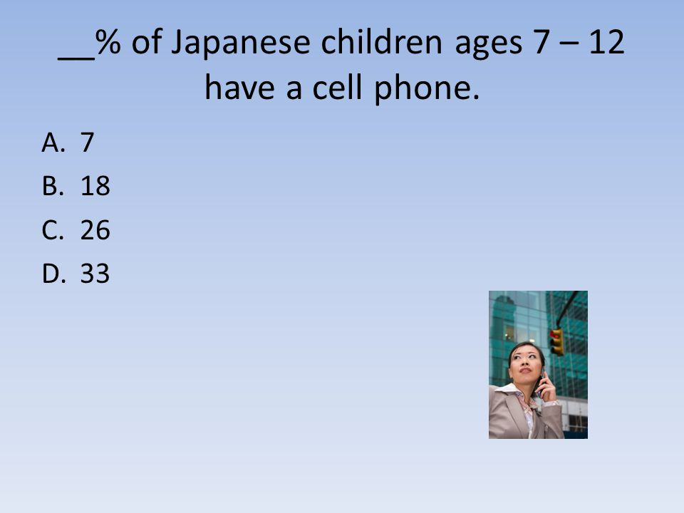 __% of Japanese children ages 7 – 12 have a cell phone. A.7 B.18 C.26 D.33