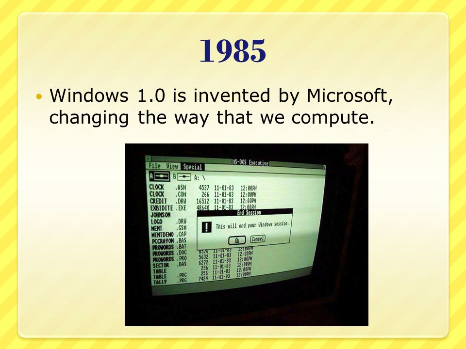1985 Windows 1.0 is invented by Microsoft, changing the way that we compute.