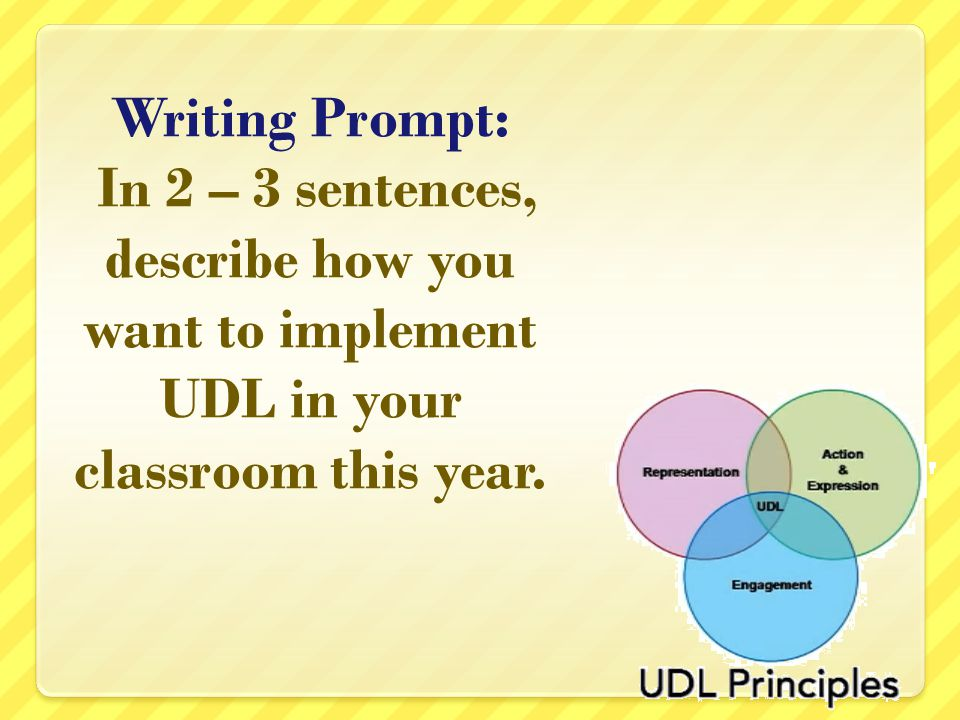 Writing Prompt: In 2 – 3 sentences, describe how you want to implement UDL in your classroom this year.