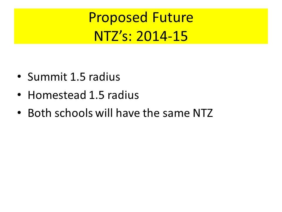 Proposed Future NTZ's: 2014-15 Summit 1.5 radius Homestead 1.5 radius Both schools will have the same NTZ