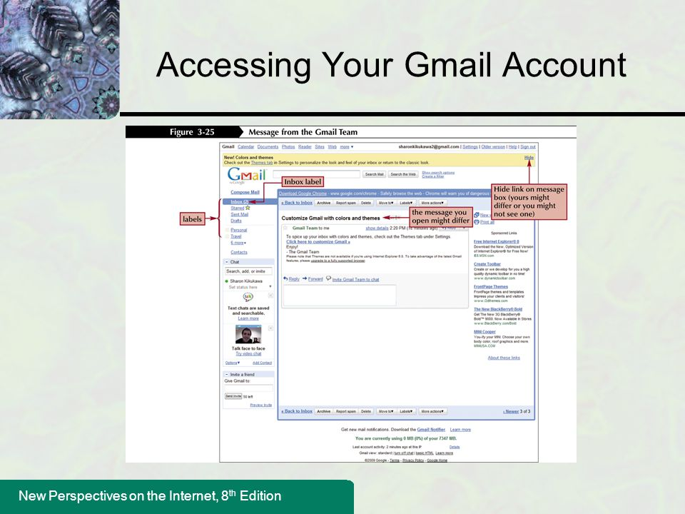 New Perspectives on the Internet, 8 th Edition Accessing Your Gmail Account