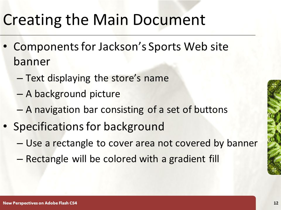 XP Creating the Main Document Components for Jackson's Sports Web site banner – Text displaying the store's name – A background picture – A navigation bar consisting of a set of buttons Specifications for background – Use a rectangle to cover area not covered by banner – Rectangle will be colored with a gradient fill New Perspectives on Adobe Flash CS412