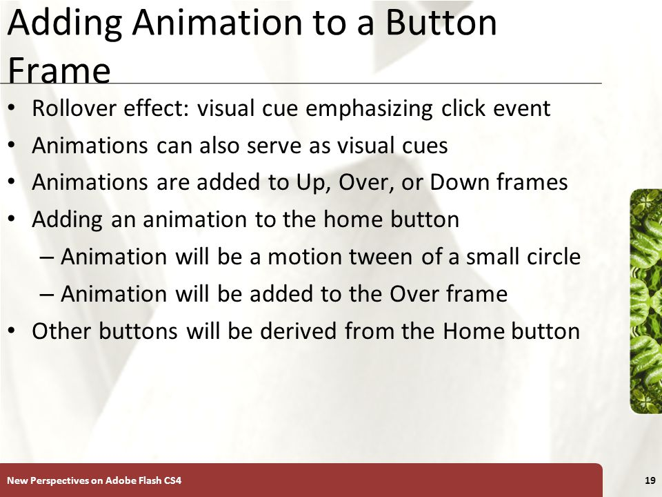 XP Adding Animation to a Button Frame Rollover effect: visual cue emphasizing click event Animations can also serve as visual cues Animations are added to Up, Over, or Down frames Adding an animation to the home button – Animation will be a motion tween of a small circle – Animation will be added to the Over frame Other buttons will be derived from the Home button New Perspectives on Adobe Flash CS419