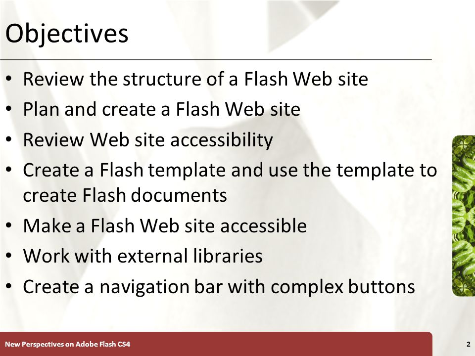 XP Objectives Review the structure of a Flash Web site Plan and create a Flash Web site Review Web site accessibility Create a Flash template and use the template to create Flash documents Make a Flash Web site accessible Work with external libraries Create a navigation bar with complex buttons New Perspectives on Adobe Flash CS42