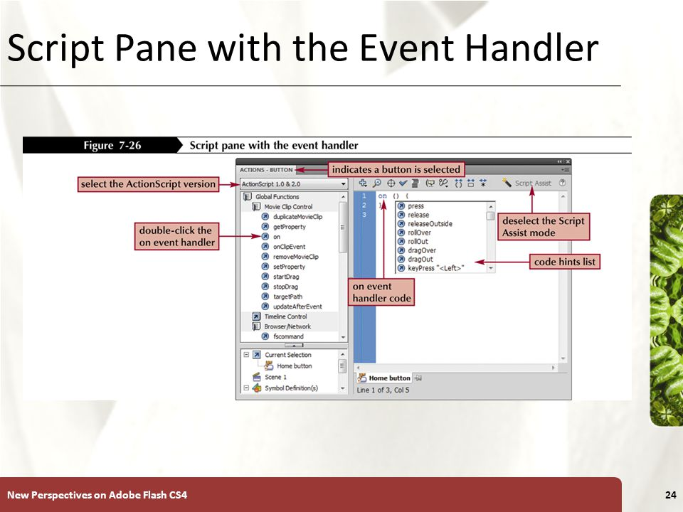 XP Script Pane with the Event Handler New Perspectives on Adobe Flash CS424