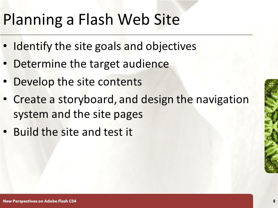 XP Planning a Flash Web Site Identify the site goals and objectives Determine the target audience Develop the site contents Create a storyboard, and design the navigation system and the site pages Build the site and test it New Perspectives on Adobe Flash CS48