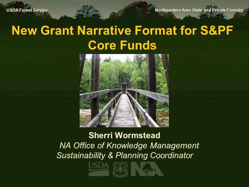 USDA Forest Service Northeastern Area State and Private Forestry Why a Nationally-Consistent Format.