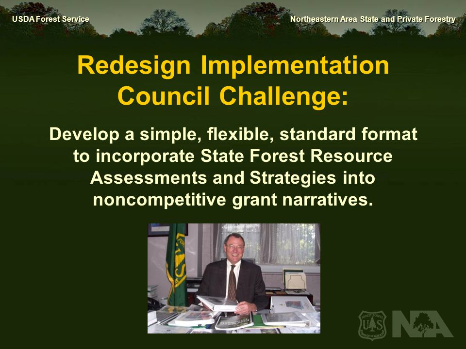 USDA Forest Service Northeastern Area State and Private Forestry Redesign Implementation Council Challenge: Develop a simple, flexible, standard forma