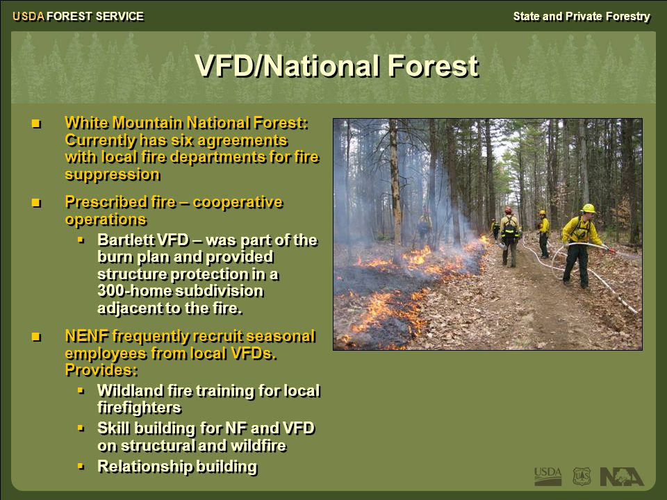USDA FOREST SERVICEState and Private Forestry VFD/National Forest White Mountain National Forest: Currently has six agreements with local fire departm