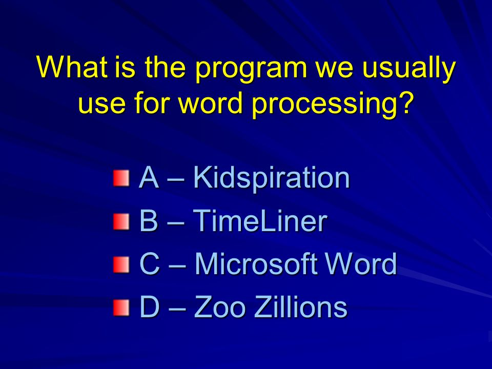 What is the program we usually use for word processing.